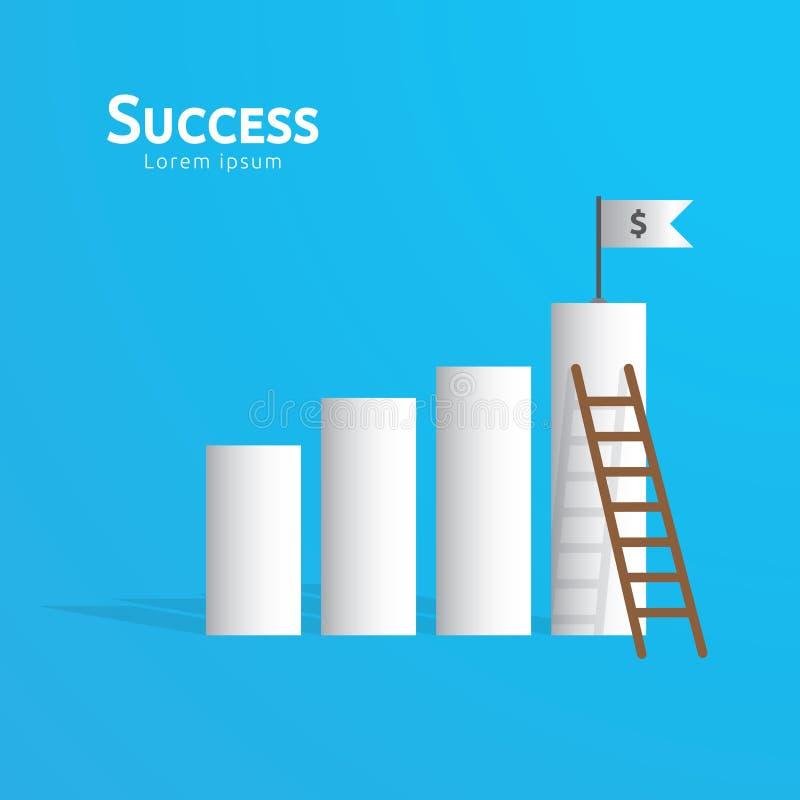 Concepto del negocio de éxito del logro con la bandera de la escalera que sube y de la meta en el top Blanco acertada de la visió libre illustration