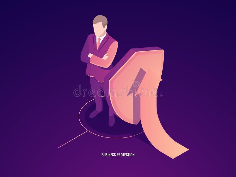 Concepto del negocio de éxito y de seguridad, maleta con el escudo y flecha para arriba, invectment ilustración del vector