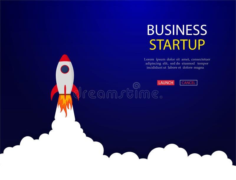 Concepto del negocio de bandera con el cohete de lanzamiento Fondo del vector del cohete del lanzamiento Lanzadera en espacio Vec stock de ilustración
