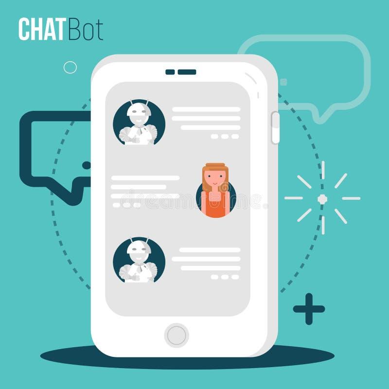 Concepto del negocio de Chatbot Muchacha del usuario que charla con la aplicación móvil del robot Concepto del Bot en estilo mode stock de ilustración