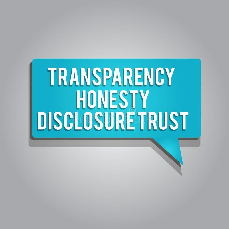 Concepto del negocio de confianza del acceso de la honradez de la transparencia de texto de la escritura de la palabra para la vo stock de ilustración