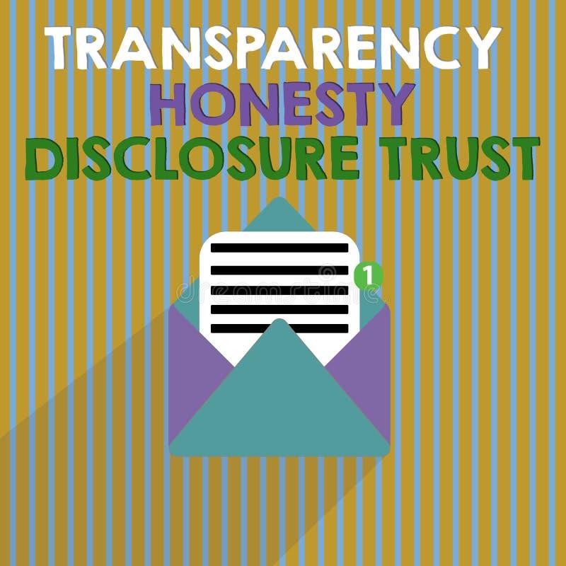 Concepto del negocio de confianza del acceso de la honradez de la transparencia de texto de la escritura de la palabra para la vo ilustración del vector