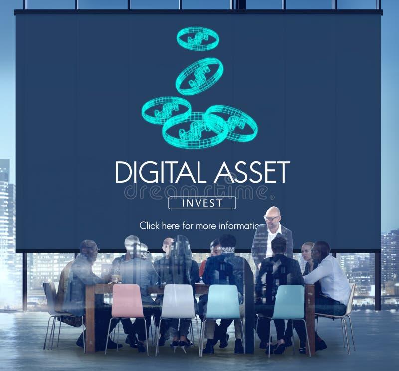 Concepto del negocio de dinero de las finanzas de los activos de Digitaces ilustración del vector