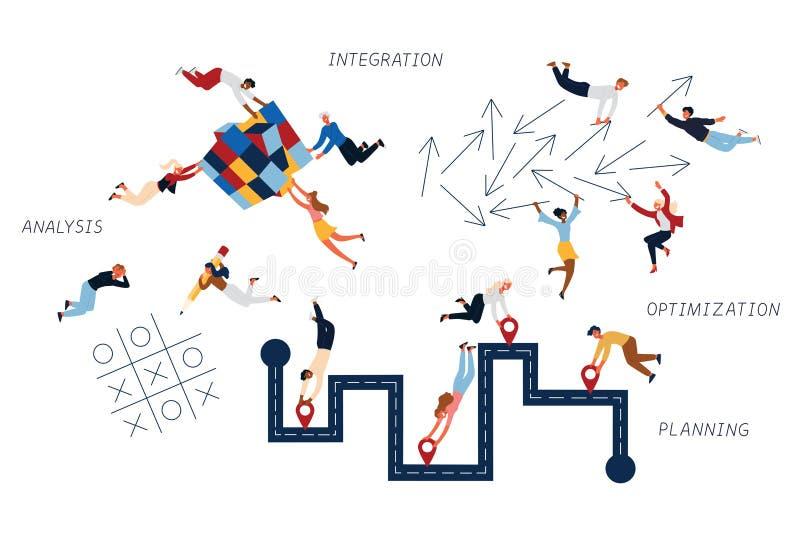 Concepto del negocio de estrategia de marketing, de integración, de análisis, de planeamiento, y de optimización libre illustration