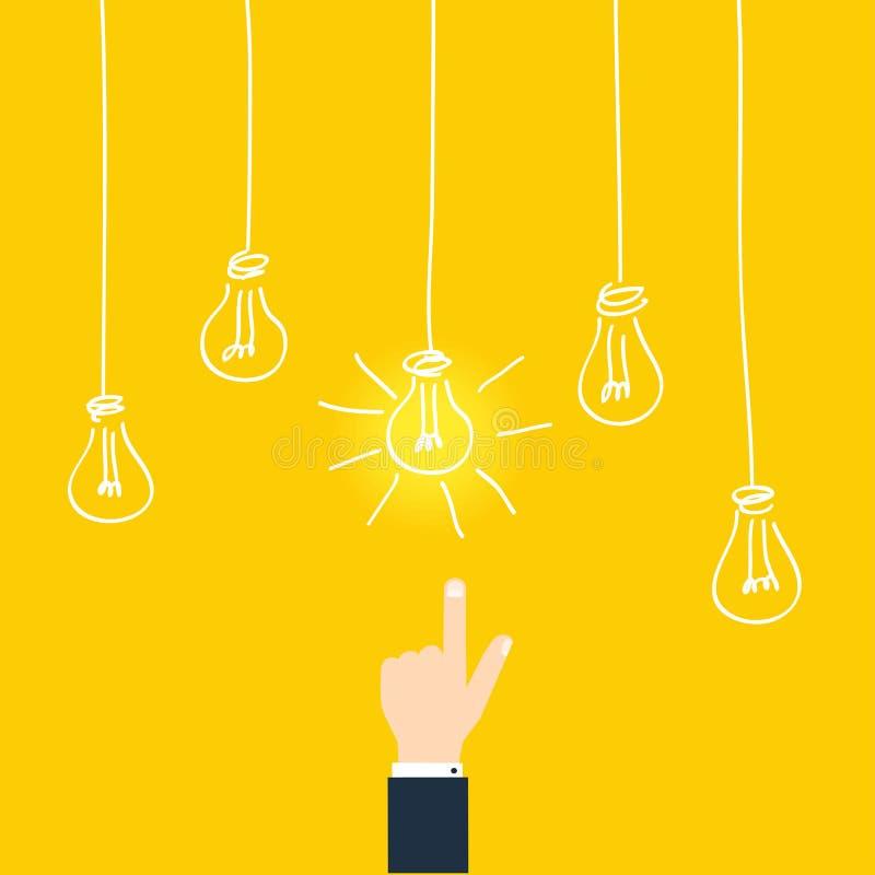 Concepto del negocio de idea del hallazgo Hombre de negocios Touching Idea Concept ilustración del vector