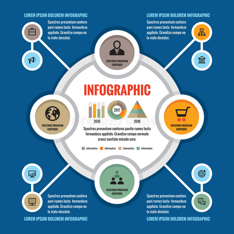 Concepto del negocio de Infographic - disposición creativa del vector con los iconos Círculos y ciclo Elementos del diseño ilustración del vector