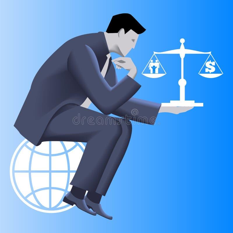 Concepto del negocio de la balanza de la vida del trabajo stock de ilustración