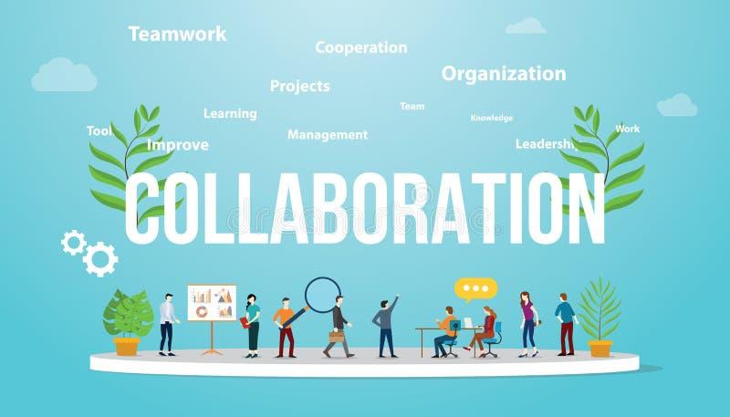 Concepto del negocio de la colaboración con la gente del equipo que trabaja así como el texto grande y la extensión relacionad stock de ilustración