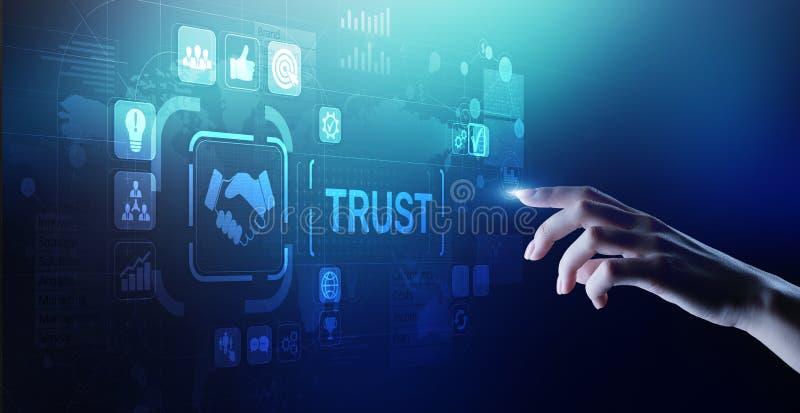 Concepto del negocio de la confiabilidad de las relaciones con los clientes de la confianza El señalar y el presionar en la panta imágenes de archivo libres de regalías