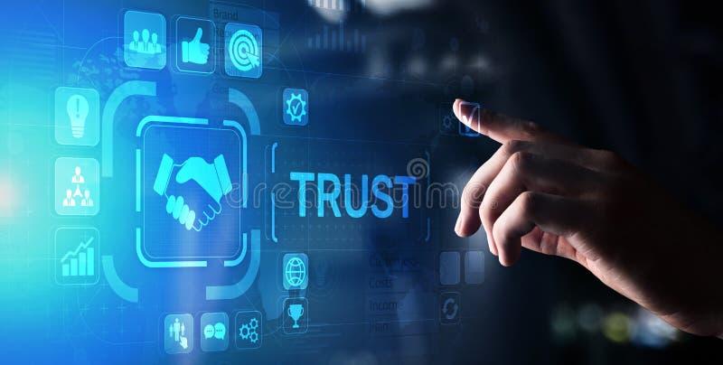 Concepto del negocio de la confiabilidad de las relaciones con los clientes de la confianza El se?alar y el presionar en la panta foto de archivo libre de regalías