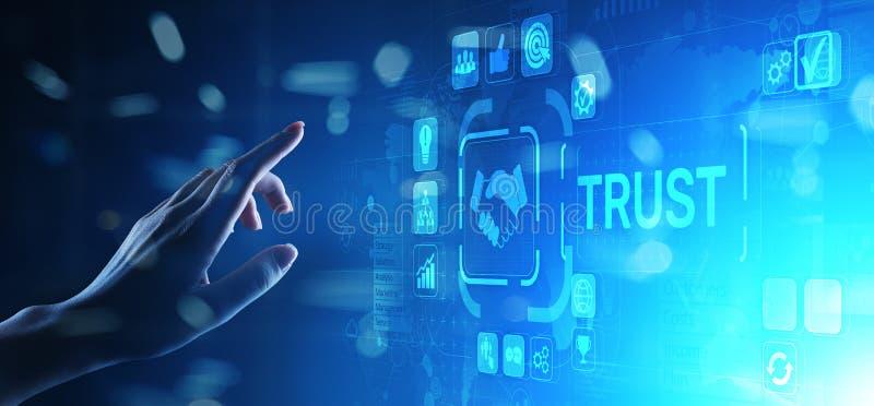 Concepto del negocio de la confiabilidad de las relaciones con los clientes de la confianza El se?alar y el presionar en la panta imagen de archivo libre de regalías