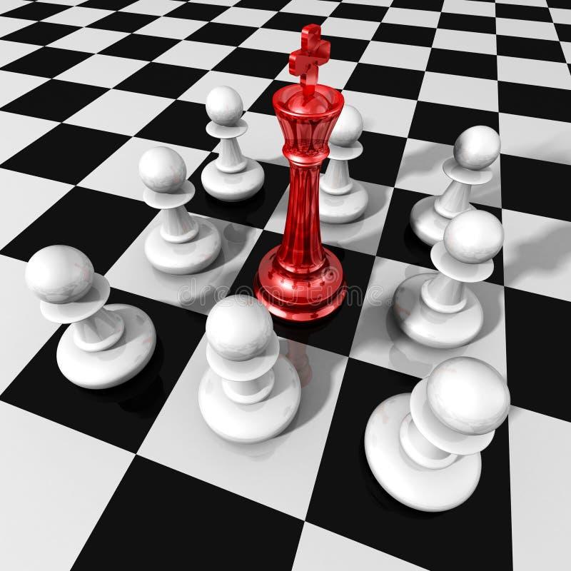 Concepto del negocio de la dirección con el rey y los empeños de cristal rojos del ajedrez stock de ilustración