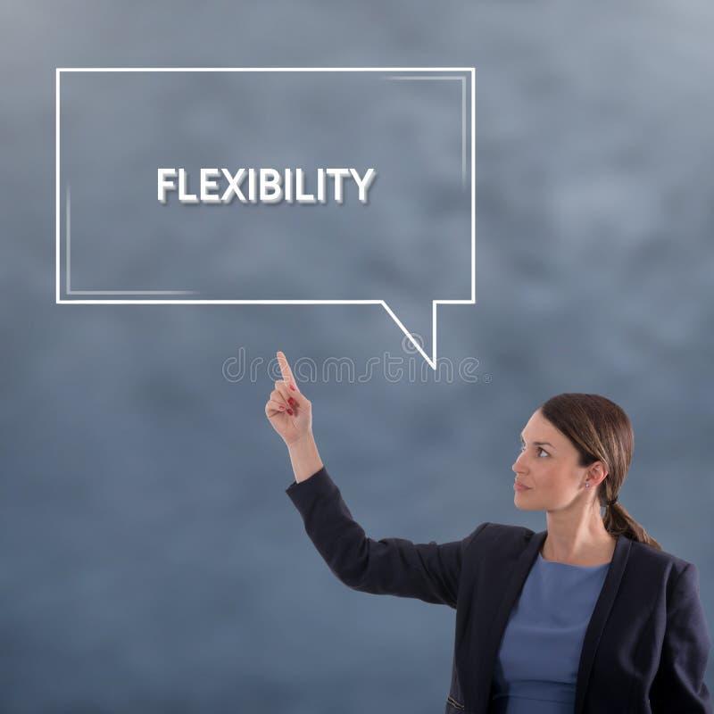 Concepto del negocio de la FLEXIBILIDAD Concepto del gráfico de la mujer de negocios imagenes de archivo