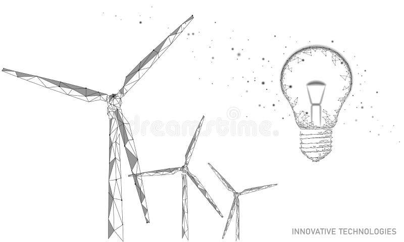 Concepto del negocio de la idea de los molinoes de viento de la bombilla Poder sostenible de la energía del verde del viento del  ilustración del vector