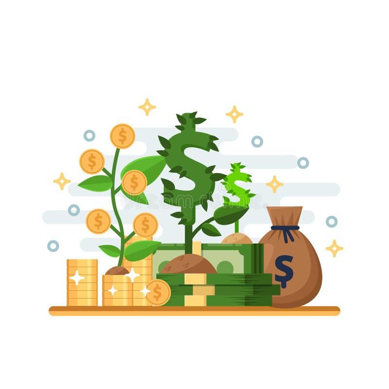 Concepto del negocio de la inversión, del desarrollo y del crecimiento de las finanzas Planta y árbol del dólar con las monedas I libre illustration
