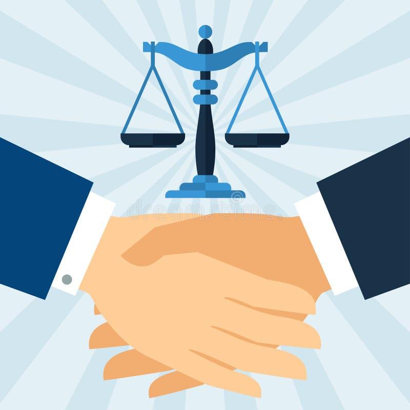 Concepto del negocio de la ley del apretón de manos en diseño plano ilustración del vector