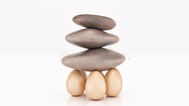 Concepto del negocio de la organización de la fuerza del grupo como una roca o un canto rodado levantó ilustración del vector