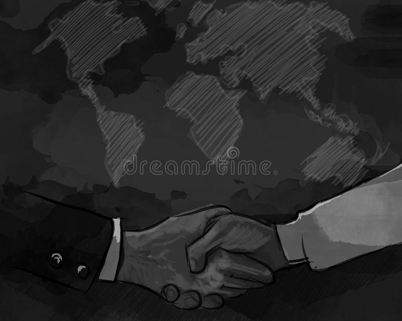 Concepto del negocio de la sacudida de la mano de comercio internacional del mapa del mundo del acuerdo del trato de la sociedad stock de ilustración