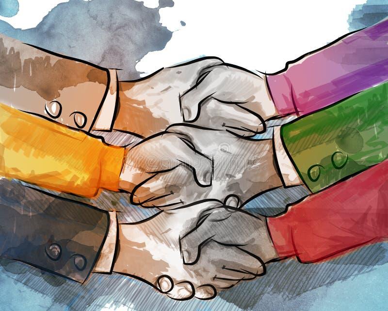Concepto del negocio de la sacudida de la mano de porción del acuerdo del trato de la sociedad junto de comercio multilateral de  libre illustration