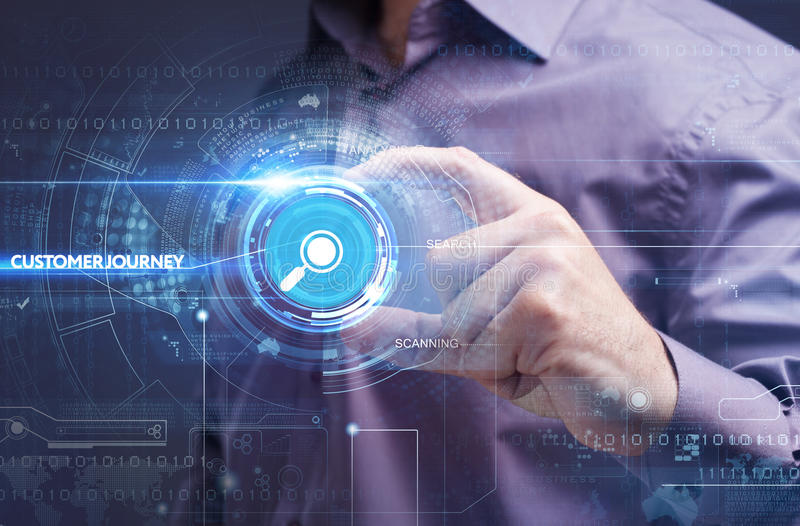 Concepto del negocio, de la tecnología, de Internet y de la red Busine joven imágenes de archivo libres de regalías