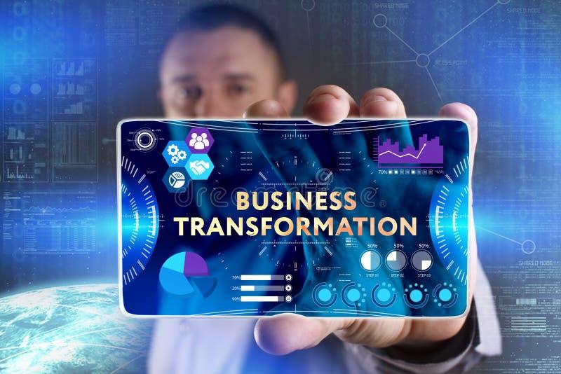 Concepto del negocio, de la tecnología, de Internet y de la red Busine joven fotografía de archivo