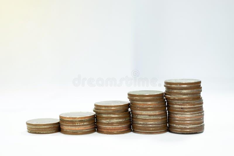 Concepto del negocio de pilas de las monedas imagen de archivo