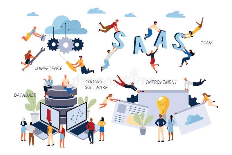Concepto del negocio de SAAS, cifrando software, la mejora, la base de datos, la capacidad y a la gestión stock de ilustración