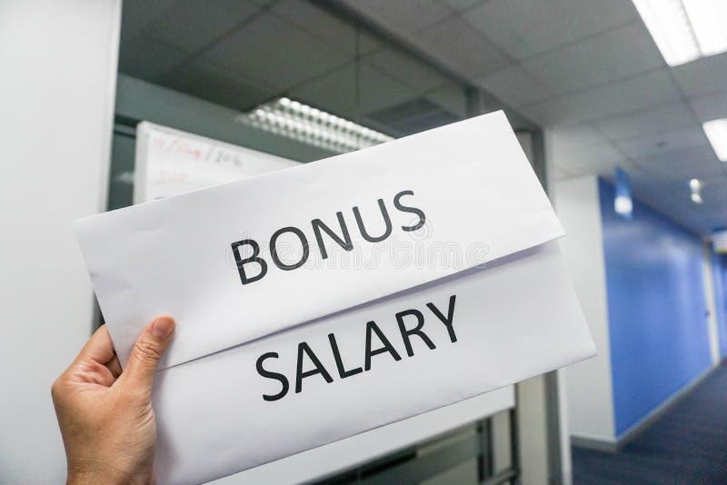 Concepto del negocio de sueldo y de prima del empleado fotografía de archivo libre de regalías