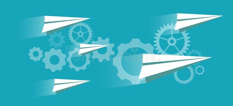 Concepto del negocio de trabajo en equipo con los iconos de la gente en fondo abstracto con los engranajes, el mecanismo plano de stock de ilustración