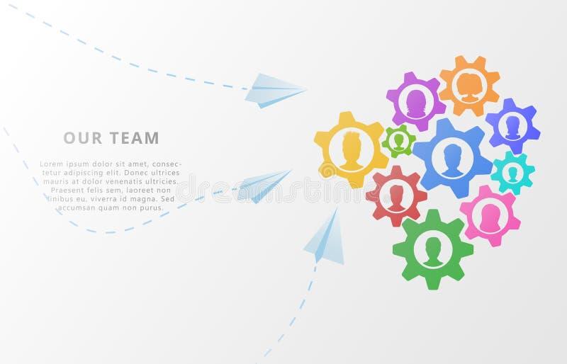 Concepto del negocio de trabajo en equipo con los iconos de la gente en fondo abstracto con los engranajes, el mecanismo plano o  stock de ilustración