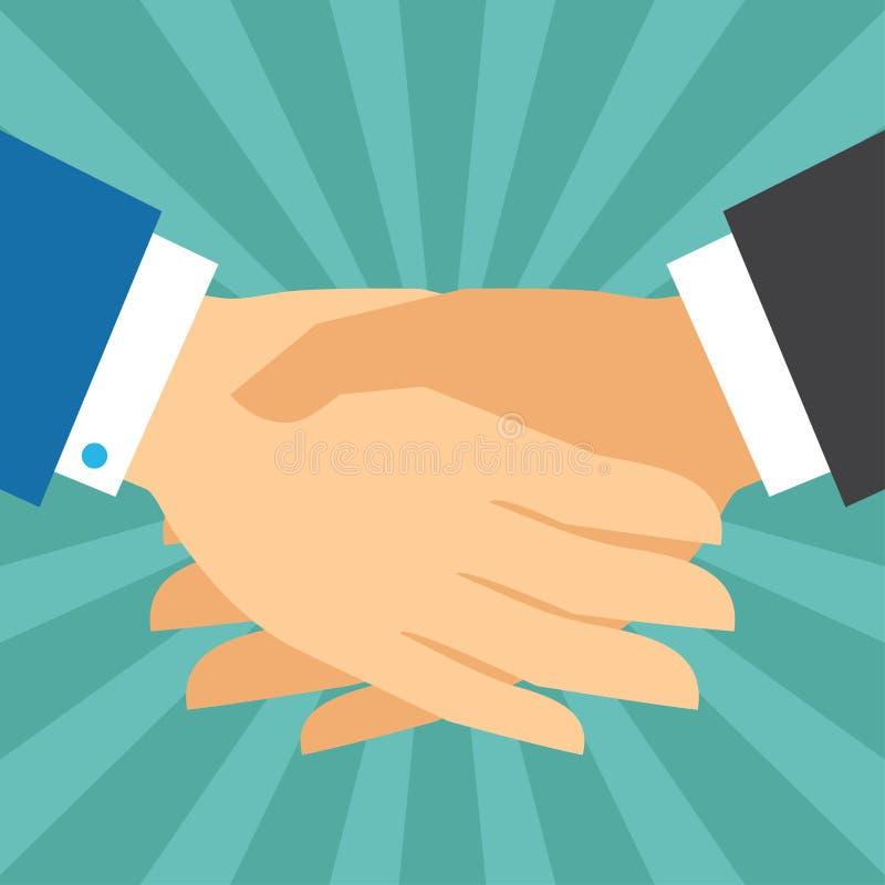 Concepto del negocio del apretón de manos en estilo plano del diseño ilustración del vector