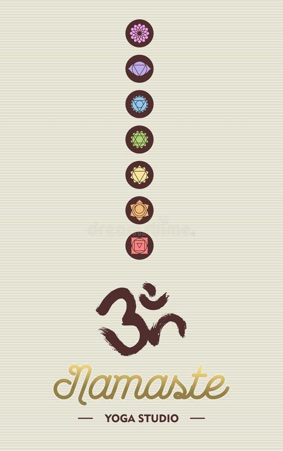 Concepto del negocio del estudio de la yoga con los iconos del chakra stock de ilustración