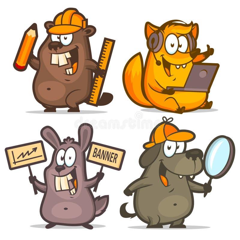 Concepto del negocio del perro del conejo del zorro del castor libre illustration