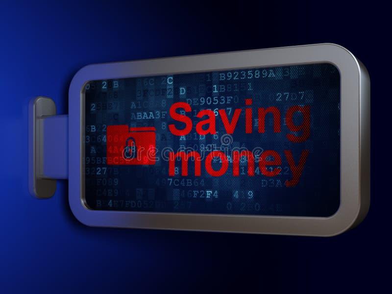 Concepto del negocio: Dinero y carpeta del ahorro con la cerradura en fondo de la cartelera ilustración del vector