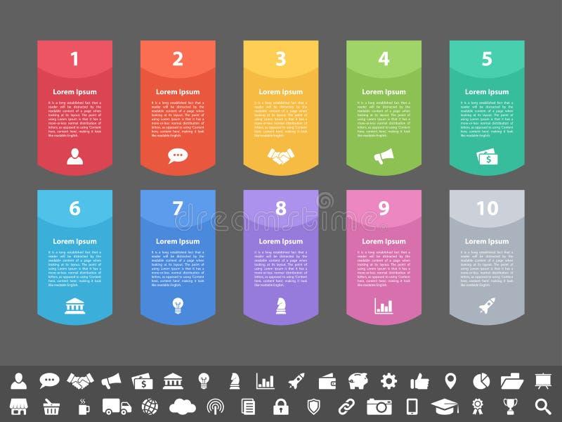 Concepto del negocio del diseño de Infographic con 10 pasos ilustración del vector