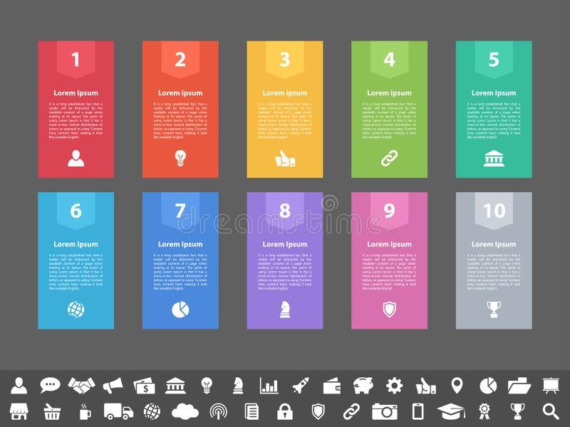 Concepto del negocio del diseño de Infographic con 10 pasos stock de ilustración