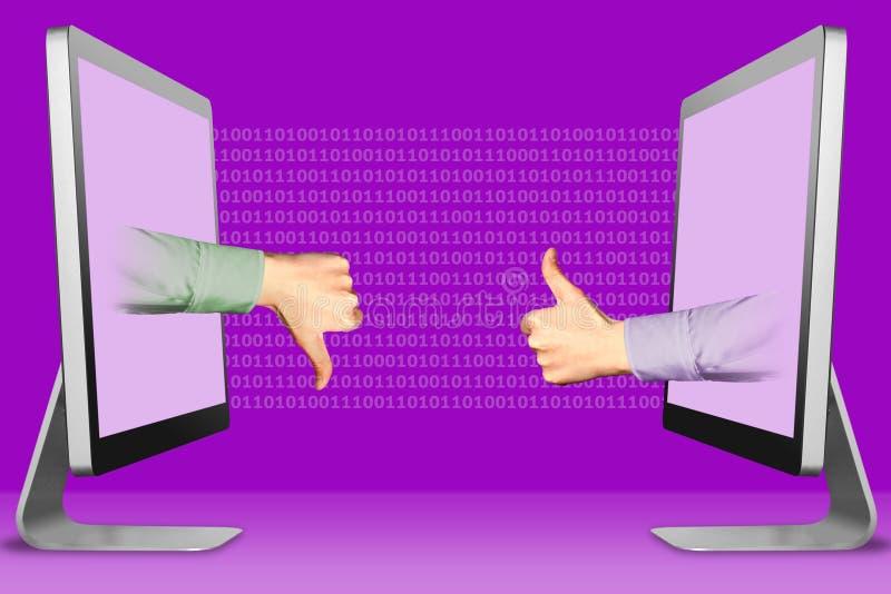 Concepto del negocio, dos manos de los ordenadores port?tiles pulgares abajo, aversi?n y pulgares para arriba, como ilustraci?n 3 fotografía de archivo
