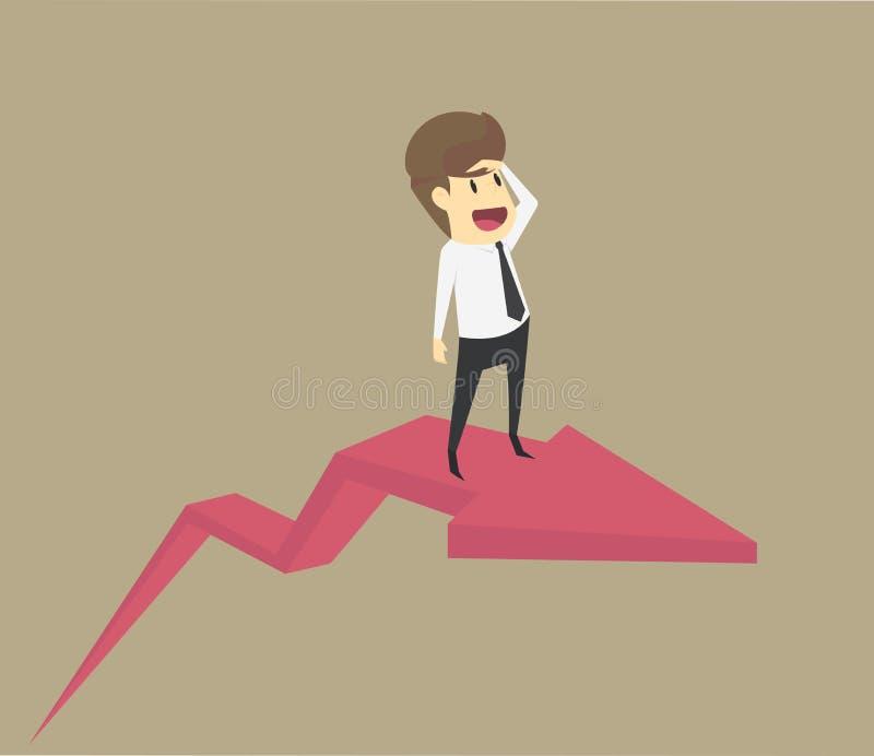 Concepto del negocio en la situación económica o financiera del crecimiento Busi stock de ilustración