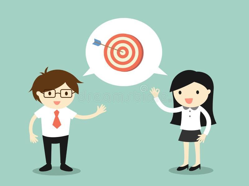 Concepto del negocio, hombre de negocios que habla con la mujer de negocios sobre blanco stock de ilustración