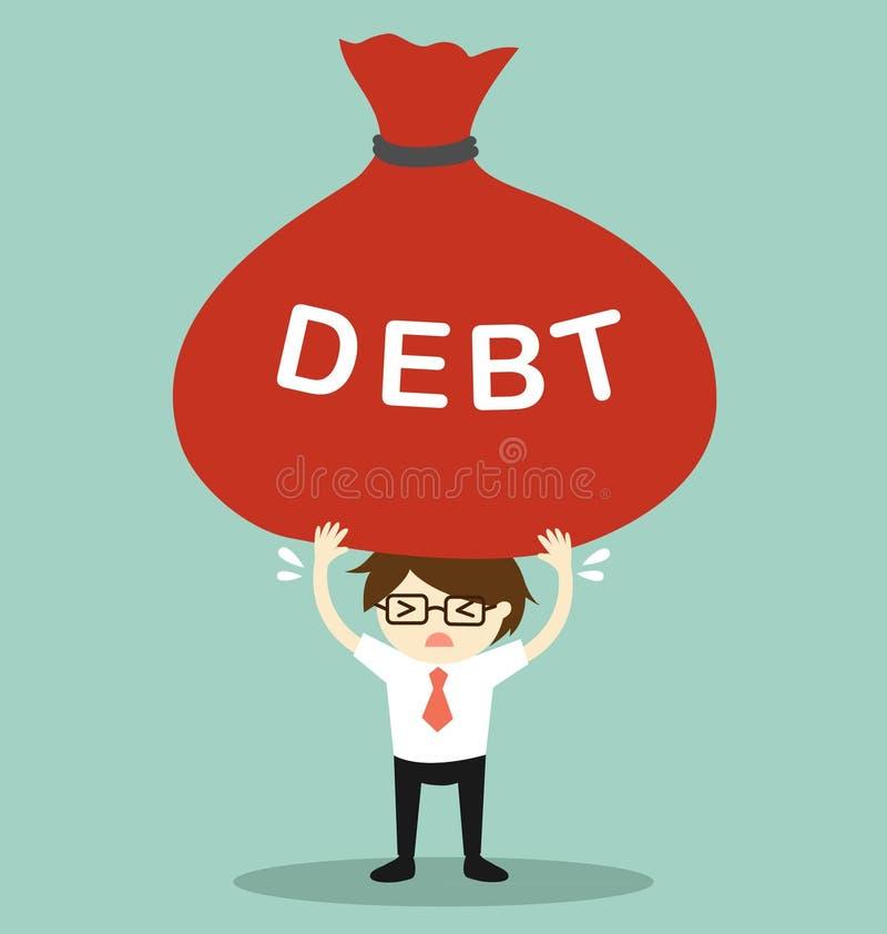Concepto del negocio, hombre de negocios que lleva a cabo deuda grande Ilustración del vector ilustración del vector