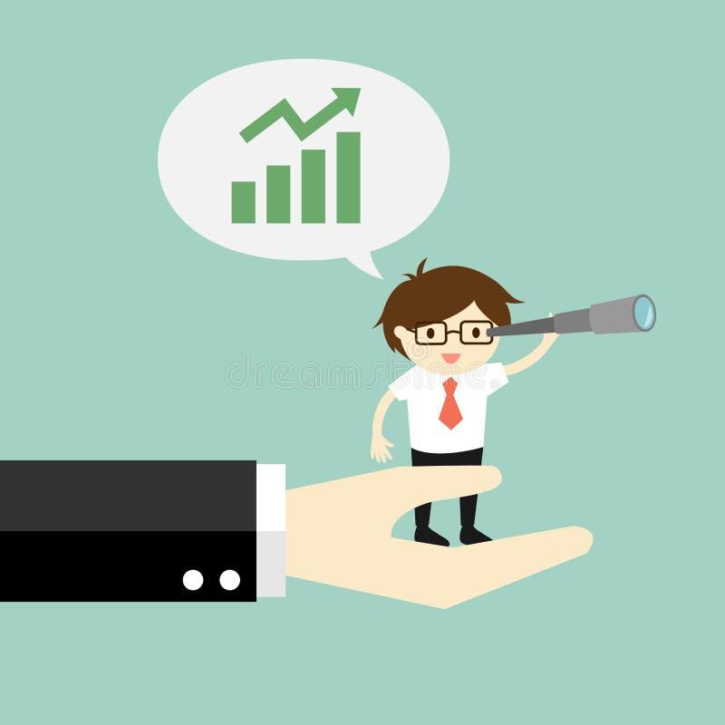 Concepto del negocio, hombre de negocios que se coloca en la mano grande y que usa su telescopio y que habla creciendo el gráfico stock de ilustración
