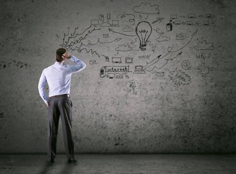 Concepto del negocio, hombre de pensamiento que mira la pared del dibujo imágenes de archivo libres de regalías