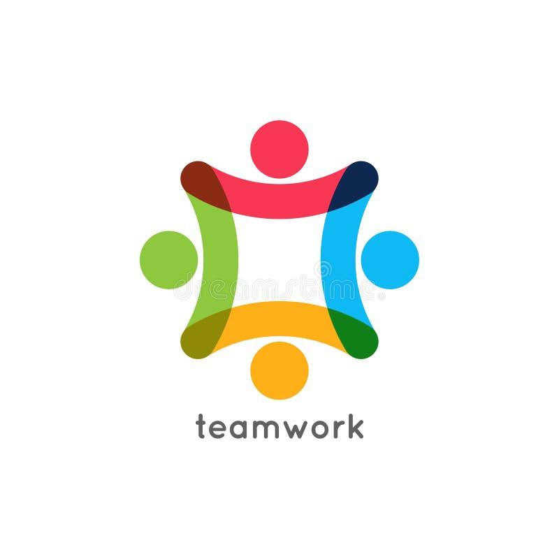Concepto del negocio del icono del trabajo en equipo Logotipo de la unión del trabajo del equipo en el fondo blanco libre illustration