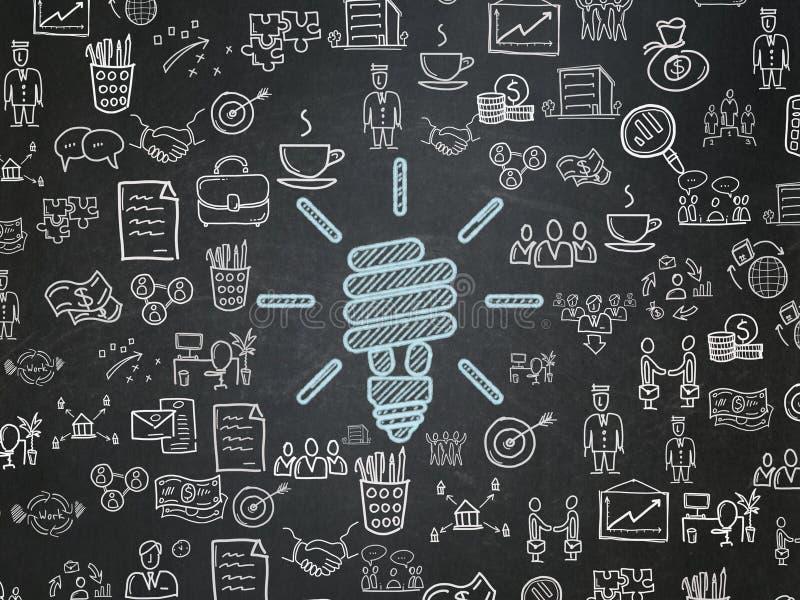 Concepto del negocio: Lámpara ahorro de energía en fondo del consejo escolar ilustración del vector