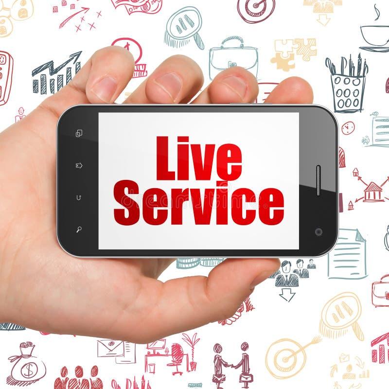 Concepto del negocio: Mano que sostiene Smartphone con Live Service en la exhibición ilustración del vector