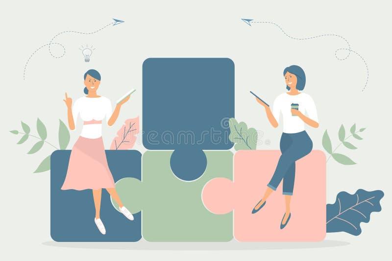 Concepto del negocio, metáfora del equipo: la gente se sienta en rompecabezas, leyó el libro, trabajo sobre la tableta, tiene una ilustración del vector