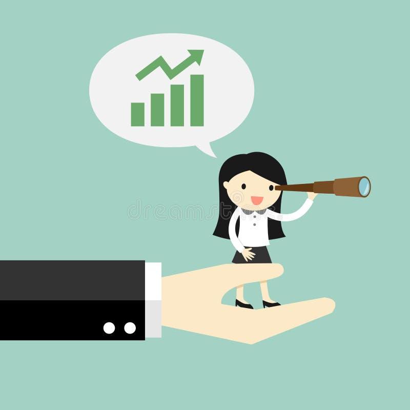 Concepto del negocio, mujer de negocios que se coloca en la mano grande y que usa su telescopio y que habla creciendo el gráfico stock de ilustración