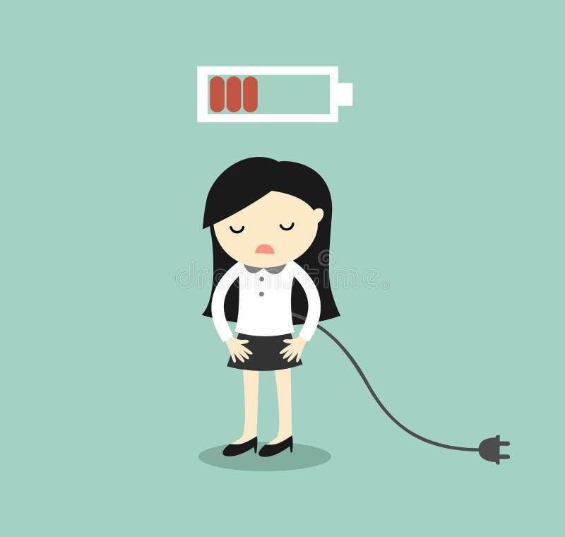 Concepto del negocio, mujer de negocios que siente batería cansada y baja Ilustración del vector stock de ilustración