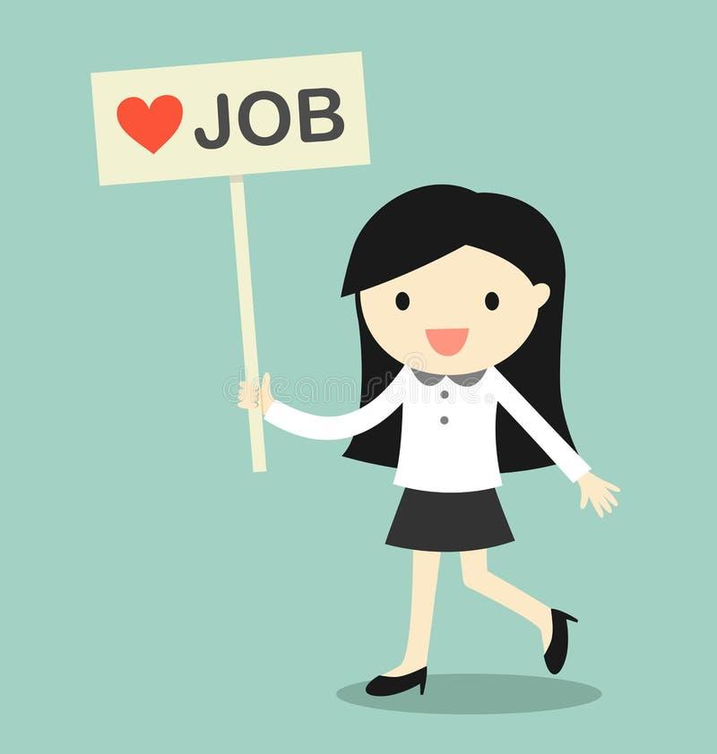 Concepto del negocio, mujer de negocios que sostiene la bandera del ` del trabajo del amor del ` en el momento relajante ilustración del vector