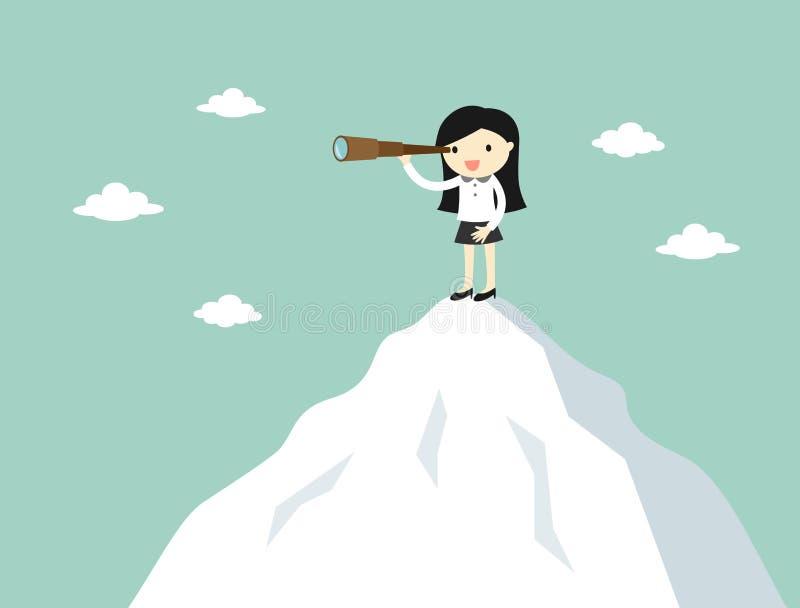 Concepto del negocio, mujer de negocios que usa el telescopio mientras que se coloca en el top de la montaña stock de ilustración